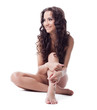 Bare young brunette woman smile isolated