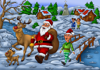Santa Distributing Gift with Elf and his Rudolph