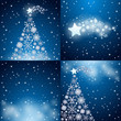 Snowflakes and Christmas trees, four backgrounds