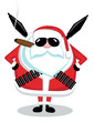 Santa with ammunition, cigar and sunglasses. Vector