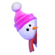 Snowman with pink hat peeps round the blank page