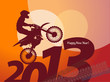 new year motocross race, vector illustration