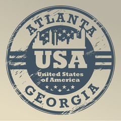 Grunge rubber stamp with name of Georgia, Atlanta, vector