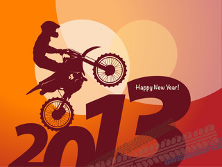 new year motocross race, vector illustration