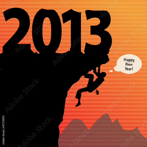 new year rock climbing, vector illustration