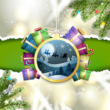 Christmas with gifts and Santa sleigh in hanging ball shape