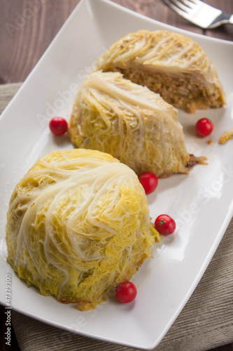 Filled cabbage patty