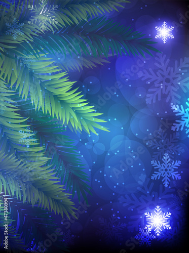 Christmas tree on a blue background