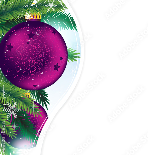Christmas ornaments on a blue sparkling background