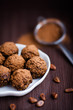 Chocolate truffles with cacao powder
