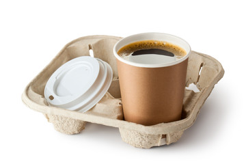 One opened take-out coffee in holder
