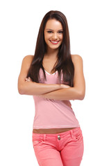 portrait of a happy brunette woman