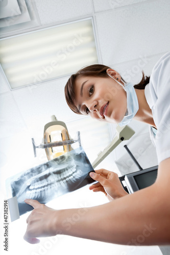 Young Female Dentist Pointing At X-Ray Image