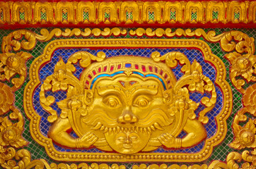 Gold stucco design of native thai style