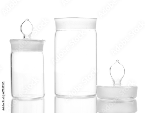 Transparent medical bottles  isolated on white