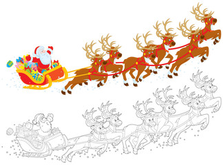 Sleigh of Santa taking off