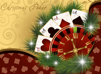 Christmas poker postcard, vector illustration