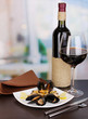 Snack of mussels with lemon and wine
