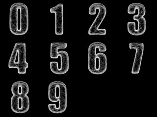 Numbers isolated with clipping path.