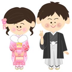 振り袖の女性と袴姿の男性