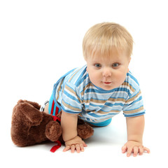 Little boy with bear, isolated on white