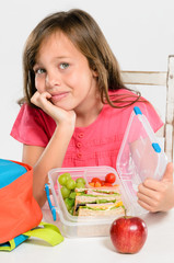 Healthy packed lunch box for elementary school girl