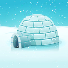 Cartoon Igloo In Polar Winter Landscape
