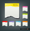 Colorful ripped paper note of the day background, vector