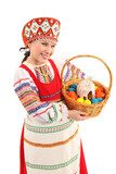 Fototapety Girl with Easter eggs and a holiday cake