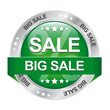 big sale green silver button isolated background