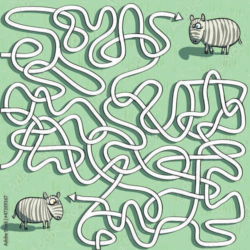 Fridge magnet Zebras Maze Game