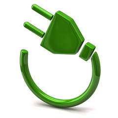 Green electric plug icon