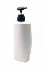 Plastic pump soap bottle without label reflected on white backgr
