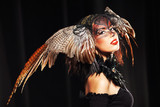 pheasant fantasy hat on beauty head with make-up