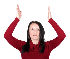 woman pretending to hold something above her head
