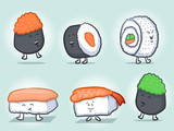 Sushi Cartoon Mascot Characters