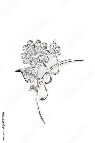 Beautiful flower brooch, isolated on white
