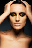 Sensual Woman with Closed Eyes - False Lashes, Bright Makeup poster