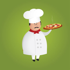 Cute italian cook/chef character holding hot pizza on a tray