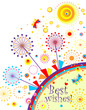 Abstract greeting card with dandelion