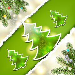 Christmas pine tree with paper background