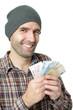 Lachender Mann mit Euros