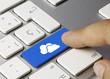 Cloud icon keyboard key. Finger
