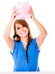 Woman using her savings