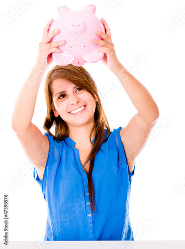 Woman using her savings