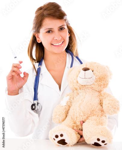 Pediatrician with a vaccine
