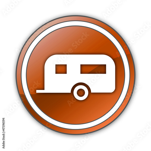 "Orange Glossy Button ""Camping Trailer"""
