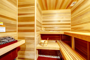Luxury home sauna room interior.