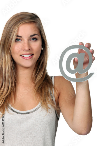 woman with Internet symbol