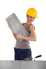 Female mason working